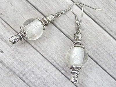Boucles d'oreilles Thurcolas de la gamme Venezia en perles de verre de Murano blanc