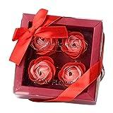 Dtuta Badaccessoires,Home Decor Badezimmer Liefert 4 Rose Seife Blume Geschenkbox Valentinstag Muttertagsgeschenke Sauberes, Hygienisches HäNdedesinfektionsmittel