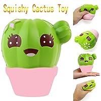 Juguetes, Manadlian ❤️ Cactus Cream Scented Squishy Slow Rising Juguete Squeeze Strap para niños (Verde)
