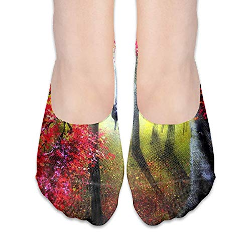 dfegyfr No Show Socks Colorful Forest Paintings Deer Animals Low Cut Liner Socks Casual Hidden Thin Socks for Women -