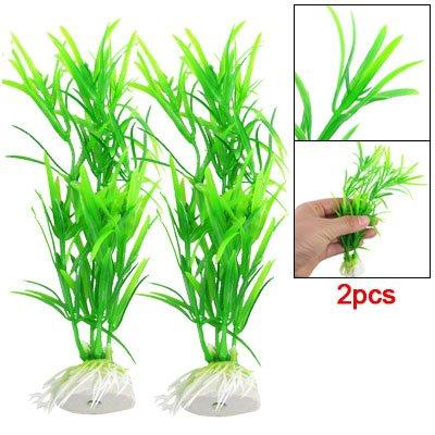 Verde Plástico 17cm Hierba Acuario Pecera Plantas Decoración 2 piezas
