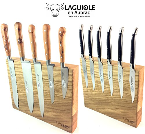 Original Laguiole en Aubrac Eichenholz-Messerblock magnetisch für Küchenmesser, Steakmesser und Taschenmesser
