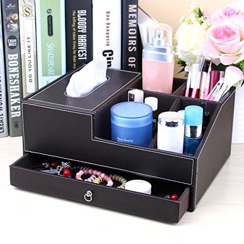 Leder Papiertuch-Kasten Zeichenpapier Kreative Europäische Desktop-Kosmetik Storage Box Skin Care Products ( farbe : Braun )