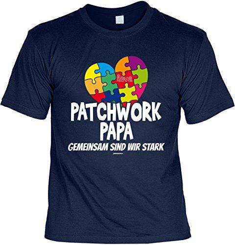 tolles Vatertagsgeschenk Papa T-Shirt Geschenk Geburtstag Weihnachten Patchwork Papa Navyblau