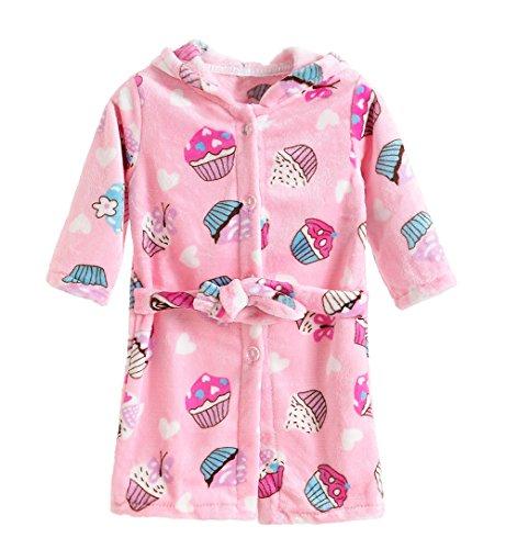 XINNE Jungen Mädchen Bademantel Mit Kapuze Morgenmantel Unisex Kleinkinder Kinder-Flanell-Pyjama Baby-Nachtwäsche Größe 120 Kuchen (Flanell-pyjama Süße)