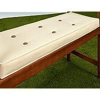Coussin pour banc de jardin extérieur Imperméable 100% Polyester 110x45cm Beige Crème