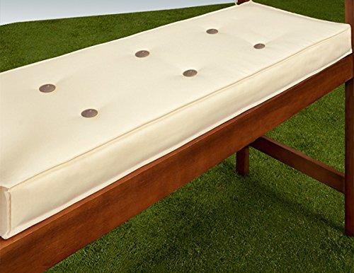 Detex® Bankauflage | Wasserabweisend 5-Lagig 110cm | Sitzkissen Sitzauflage Sitzpolster Bankpolster Auflage Creme