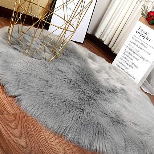 RUG ZI LING Shop- Weiche Flauschige Faux Stuhlabdeckung Behaart waschbar Teppich Rutschfeste Matten für Stuhl Bett Sofa Boden mit extra Lange Wolle (Farbe : Gray, größe : 80cm) (Stuhl Flauschige Schreibtisch)