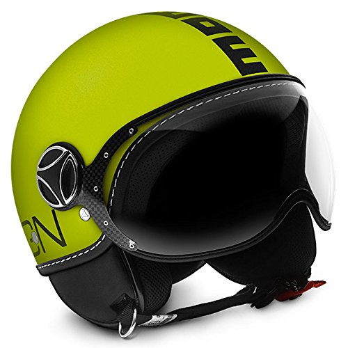 MOMO Design CASCO DEMI JET FIGHTER FLUO GIALLO FROST/NERO TAGLIA XL