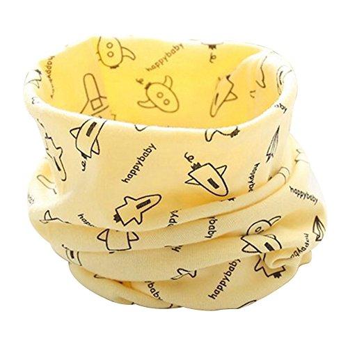 Tangbasi® - scaldacollo per bambini, motivo: aeroplano in stile cartoonesco, calda sciarpa circolare per ragazzi e ragazze giallo yellow taglia unica
