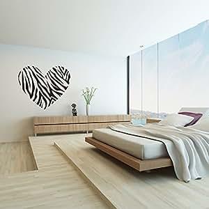 Autocollant de mur Decalcomanie 60cmX 70cm Art ckers muraux amovibles impression de z¨¨bre de coeur mur mureauxgrandes d¨¦calcomanies