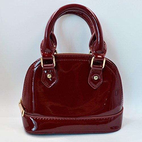 AiSi Damen mini Lack Leder Handtasche/ Damenhandtasche/ Schultertasche/ Crossbody Bag/ Umhängetaschen/ Henkeltasche mit Reißverschluss Umhängekette Rot Schwarz Weinrot Weinrot