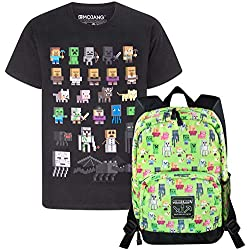 Official Minecraft Steve Overworld Sprites Backpack and Sprites T-Shirt Gift Set Bundle