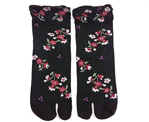Tabi Socken 'kuroihana' Japanische Split 2-toe Ninja Flip Flop Geta Sandale Socken (Weibliche Samurai Krieger Kostüm)