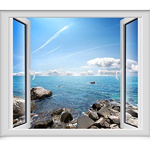 3D massive Wand Tapeten emulation Fenster Aussicht von selbstklebenden abnehmbar und unbezähmbaren Ozean Blick 1 Kingsize-Bett