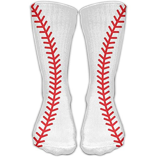 guolinadeou Men Women Softball Baseball Stitches Red Line Curve Novelty Sport Stocking Socks Athletic High Sock Gift Outdoor -