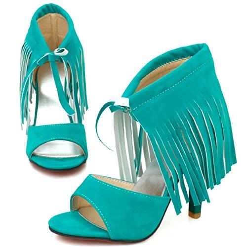 RAZAMAZA Femme Mode Lacets Mince Talon Haut Sandales Avec Franges Vert