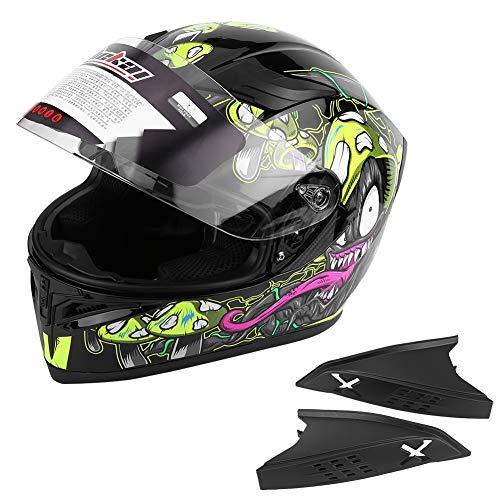 Qii lu Casco moto per motocicletta, casco integrale per moto da strada con doppia visiera universale a doppia visiera che migliora l'equipaggiamento protettivo di sicurezza(L)
