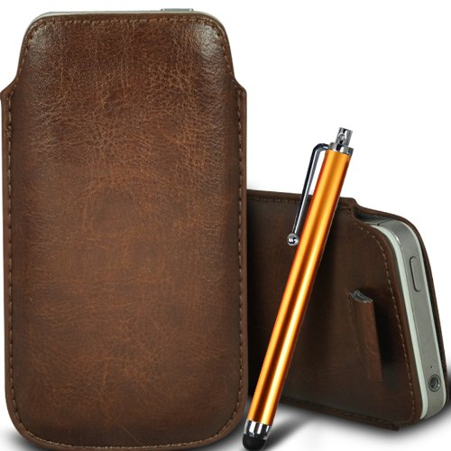 Brun/Brown - Xiaomi Redmi 1S Housse deuxième peau et étui de protection en cuir PU de qualité supérieure à cordon avec stylet tactile par Gadget Giant® Brun/Brown & Stylus Pen