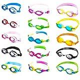 Schwimmbrille für Kinder inkl. Transportbox + Anti-Beschlag-Schutz + UV Schutz + verstellbares Silikonband | bis ca. 12Jahre / perfekte Passform | Chlorbrille Kinderschwimmbrille | orange/gelb