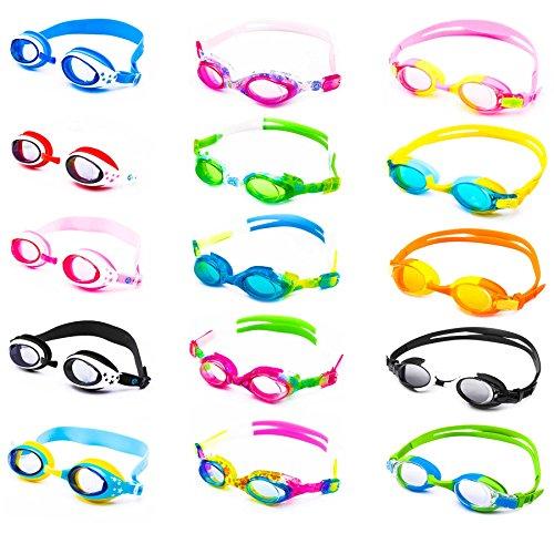 Schwimmbrille für Kinder inkl. Transportbox + Anti-Beschlag-Schutz + UV Schutz + verstellbares Silikonband | bis ca. 12Jahre/ perfekte Passform | Chlorbrille Kinderschwimmbrille Picco | schwarz/weiss