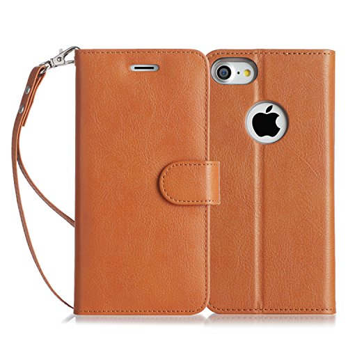 iPhone 8 Hülle , iPhone 7 Hülle, Fyy® [RFID Blockierender Geldbeutel] 100% handgenähter Geldbeutel mit Kartenhaltern für Apple iPhone 8 / 7 , Gold A-Hellbraun