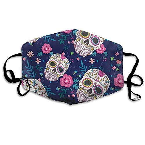 WBinHua Masken für Erwachsene, Mask Face, Mouth Mask, Breathable Mask Anti Dust, Unisex Candy Skull Flowers Rose Printed Cotton Mouth-Masks Face Mask Polyester Anti-dust ()