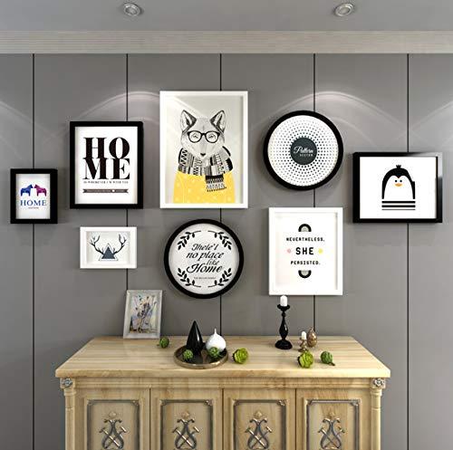 FREEWYJD Holzbilderrahmen Collage Schwarz Weiß Fotowand Bilderrahmen Wanddekor Multi Fotorahmen Set 8 Teile/Satz - Poster Set Teile