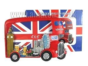 Photo Frames 1240 Cadre photo peint à la main Motif bus, Big Ben et skyline de Londres