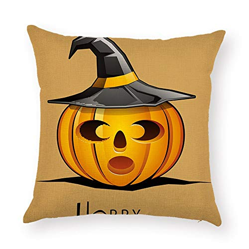 DHNKW Halloween Cushion Covers Jack-O'-Lantern Pumpkin Yellow Orange Black Painting Thick Polyester Double-Sided Throw Pillow Cases for Home Sofa Bed Decorative(20