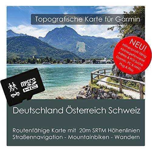 Deutschland Österreich Schweiz (Dach) TOPO Garmin - 8GB microSD - Topografische GPS Freizeitkarte Fahrrad Wandern Touren Trekking Geocaching Outdoor. Navigationsgeräte & PC