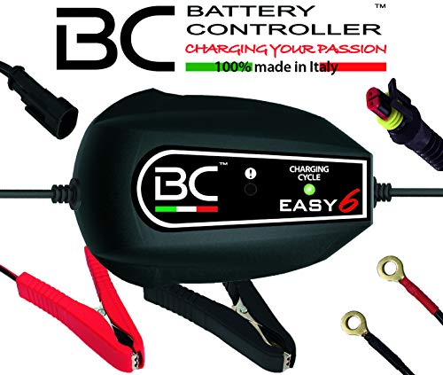 BC Battery Controller BC EASY 6, Caricabatteria e Mantenitore Intelligente a 6 Cicli per tutte le Batterie Auto e Moto 12V Piombo-Acido, 1 Am