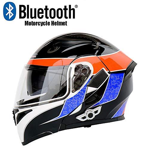 AYUE® Modular Helm Motorrad-Unfall Motorrad D.O.T Zertifizierungs-Full Face Racing Bluetooth Helme Flip vorne Automatische Antwort Anti-Fog Double Mirror,M (Racing Helm Antwort)