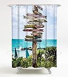Duschvorhang Key West 180 x 180 cm, hochwertige Qualität, 100% Polyester, wasserdicht, Anti-Schimmel-Effekt, inkl. 12 Duschvorhangringe