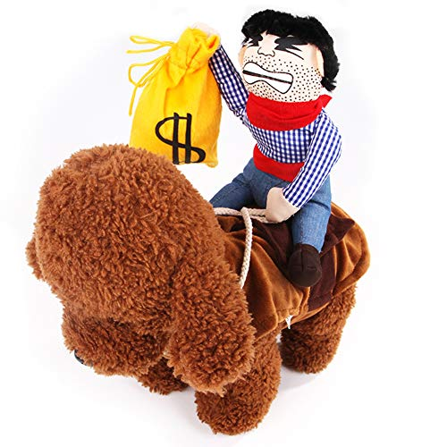 XuBa Hund süß Cospaly Kostüm Cowboy Style Outfit mit Puppe für Halloween Haustier Kostüm Money Bag M