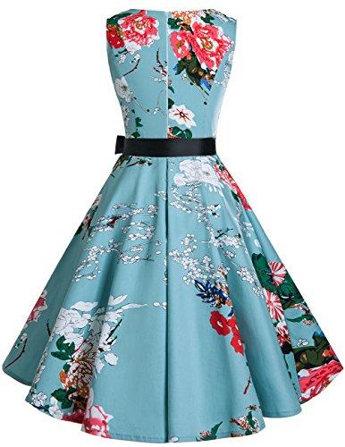 Bridesmay Damen Vintage 1950er Rockabilly Ärmellos Retro Cocktailkleid Partykleid Floral