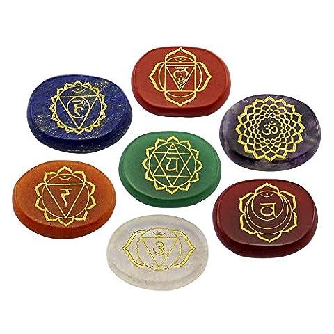 Contever® Pierres Gravées à équilibrer Reiki Healing Chakras Holistiques Produits de Soins de Santé - 7 Pcs Healing Chakra