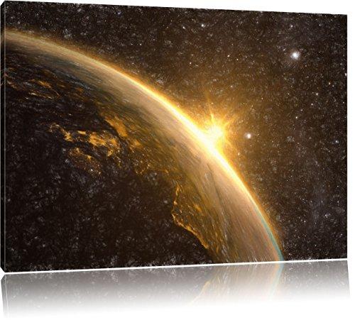 Die Sonne und Erde im Weltall Kunst Buntstift Effekt, Format: 100x70 auf Leinwand, XXL riesige Bilder fertig gerahmt mit Keilrahmen, Kunstdruck auf...