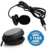 Drumstone Mini Clip-on 3.5mm Plug Lavalier Or Personal Neck Microphone With Round Earphone Carrying Case - Multi Purpose Pocket Storage Travel Organizer for Headphone, Pen Drive,Memory Card Compatible With Xiaomi, Lenovo, Apple, Samsung, Sony, Oppo, Gionee, Vivo Smartphones (One Year Warranty)