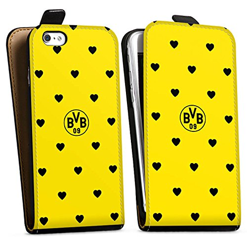 Apple iPhone X Silikon Hülle Case Schutzhülle Borussia Dortmund BVB Herzen Downflip Tasche schwarz