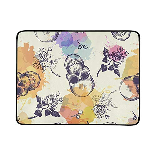 EIJODNL Skulls Rose Flowers Drawn Portable and Foldable Blanket Mat 60x78 Inch Handy Mat for Camping Picnic Beach Indoor Outdoor Travel (Handy Wallpaper Halloween)
