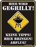 Original RAHMENLOS Targa in metallo per il barbecue party: qui viene gegrillt. Nessuna Consigli. Birra portare. Partenza. N. 3451