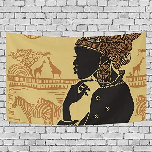 JSTEL Wandteppich Afrikanische Frau Wanddekoration für Wohnzimmer, Wohnzimmer, Wohnzimmer, Tisch, Überwurf, Tagesdecke, Wohnheim, 100 x 150 cm, Multi, 150 x 230 cm - Afrikanische Wohnzimmer Tisch