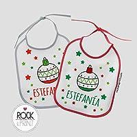 2 Baberos Bola Navidad personalizado con nombre. Tamaño 20x25cm. Original Regalo Bebé
