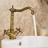 FY.ZCK Robinet taraud Mitigeur Tous-cuivre antique de style européen à poignée double bassin d'eau chaude...