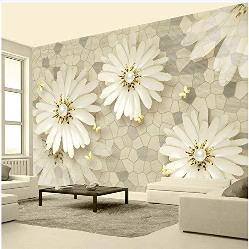 Preisvergleich Produktbild Xbwy Fototapeten Europäischen Stil 3D Goldene Schmuck Blume Mosaik Steinmuster Tapete Wohnzimmer-250X175Cm