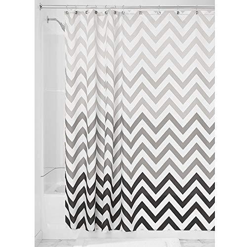 iDesign Ombre Chevron Textil Duschvorhang | 183 cm x 183 cm Vorhang aus Stoff mit Zickzackmuster | pflegeleichte Duschabtrennung für Badewanne und Duschwanne | Polyester grau