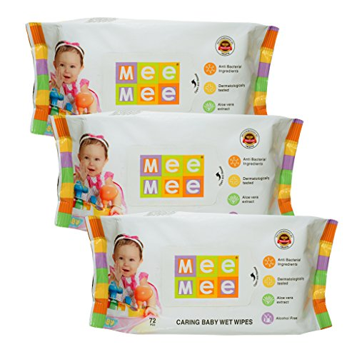 Mee Mee Caring Baby Wet Wipes with Aloe Vera (72 pcs) (Pack of 3)  available at amazon for Rs.290