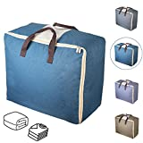 Duvet Storage Bags, Qozary Large Bedding Storage Bags with Zips, Clothes Storage Bag Made of Better and Comfortable Fabric, Available in 4 Colours (Blue)