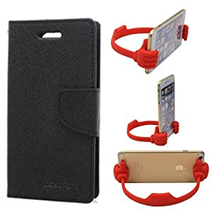 Aart Fancy Wallet Dairy Jeans Flip Case Cover for Apple4G (Black) + Flexible Portable Mount Cradle Thumb OK Designed Stand Holder By Aart Store.
